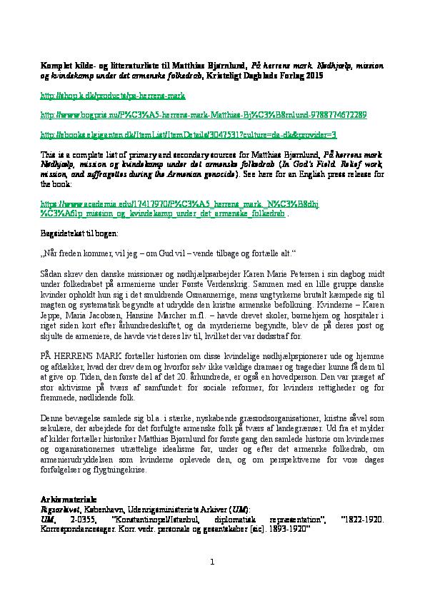 Komplet Kilde Og Litteraturliste Til Matthias Bjrnlund P Herrens