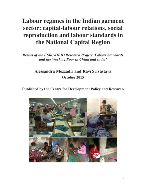 PDF) Labour regimes in the Indian garment sector: capital-labour