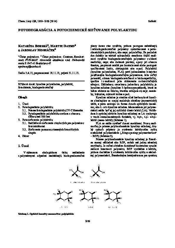 2d5a74c44 (PDF) Photodegradation and photochemical crosslinking of polylactide  (FOTODEGRADÁCIA A FOTOCHEMICKÉ SIEŤOVANIE POLYLAKTIDU) | Jaroslav Mosnacek  - Academia. ...