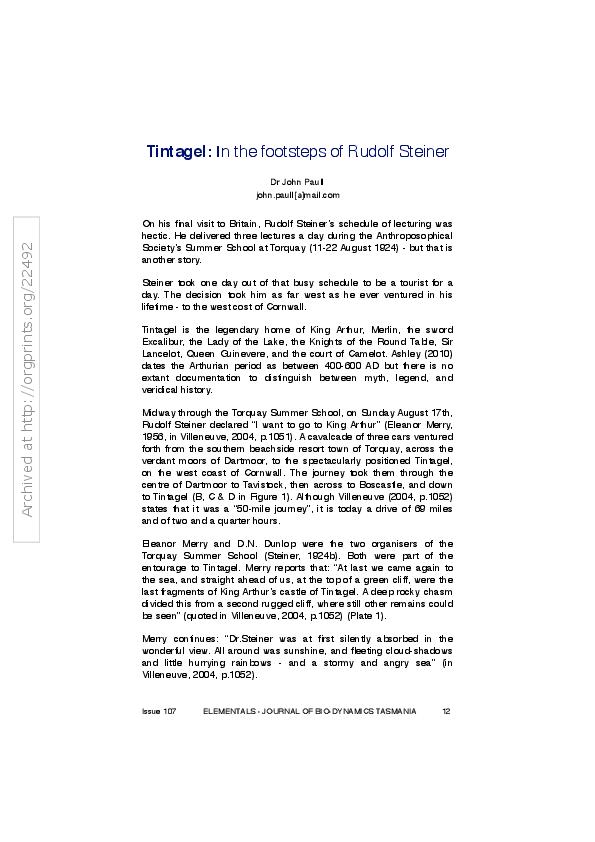 PDF) Tintagel: In the footsteps of Rudolf Steiner | John