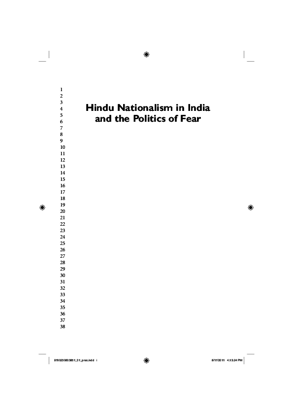 PDF) Hindu Nationalism in India and the Politics of Fear | Dibyesh