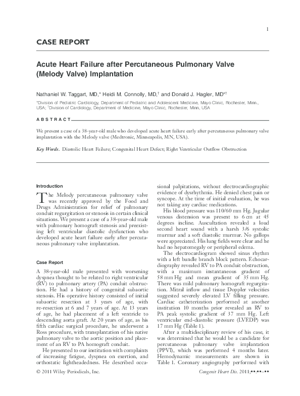 PDF) Acute Heart Failure after Percutaneous Pulmonary Valve