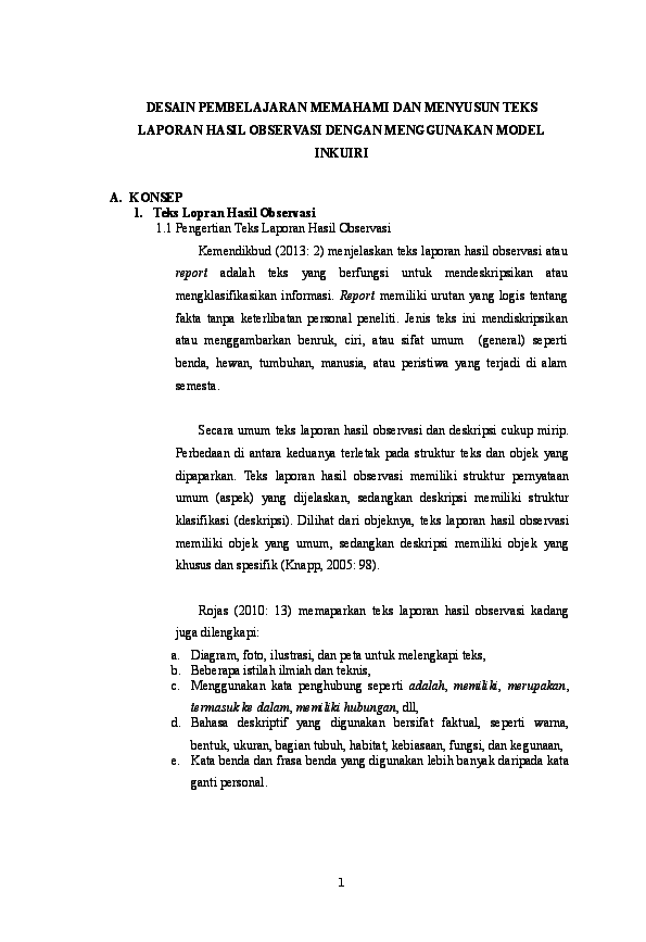 Rpp Teks Laporan Hasil Observasi Kurikulum 2013 Yeni Alfiani