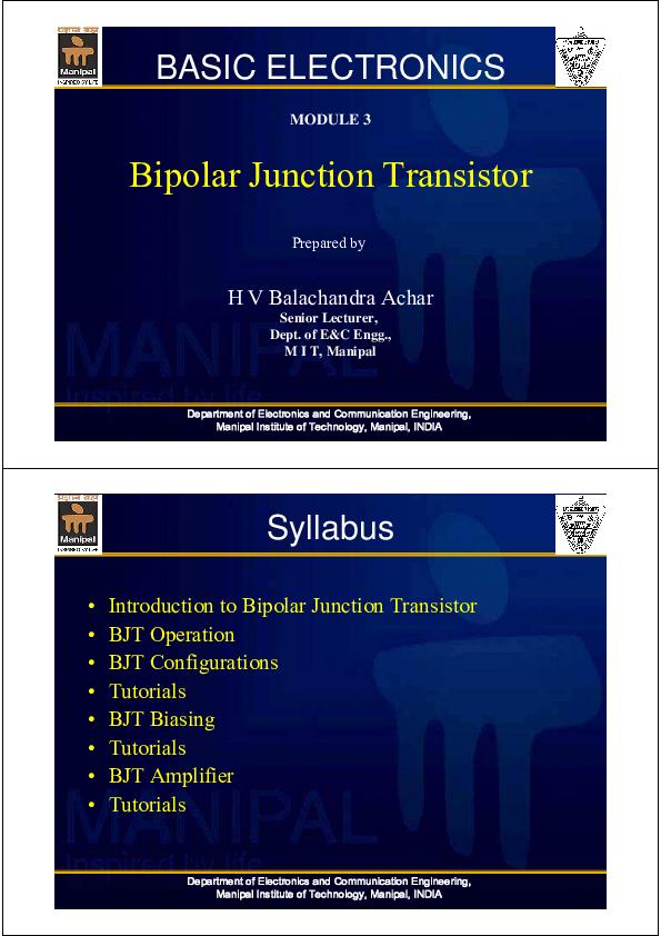 PDF) Bipolar transistor | Gyansu Sharma - Academia edu