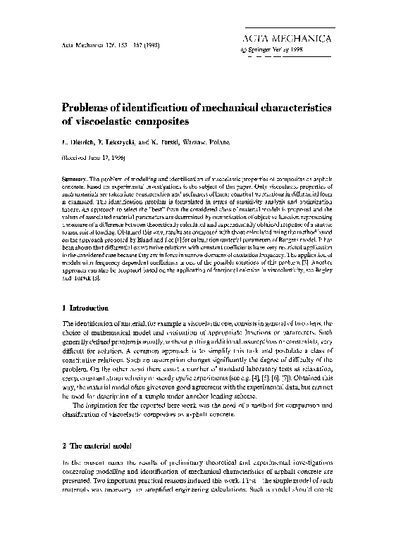 PDF) Problems of identification of mechanical
