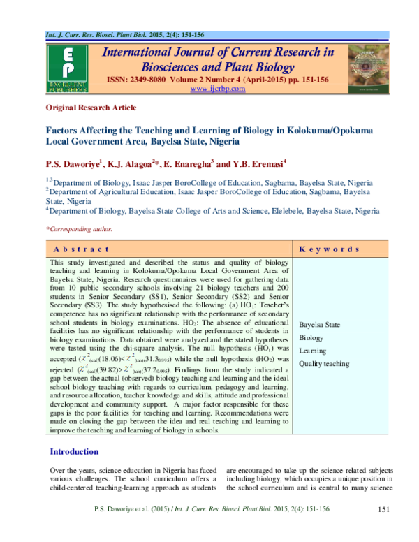 PDF) Factors Affecting the Teaching and Learning of Biology in