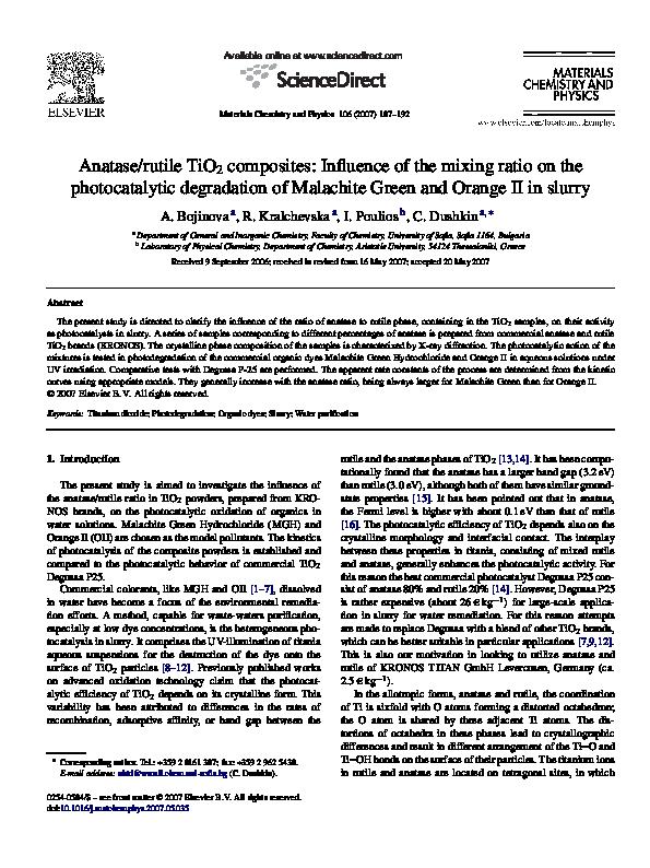 Anatase/rutile TiO2 composites: Influence of the mixing
