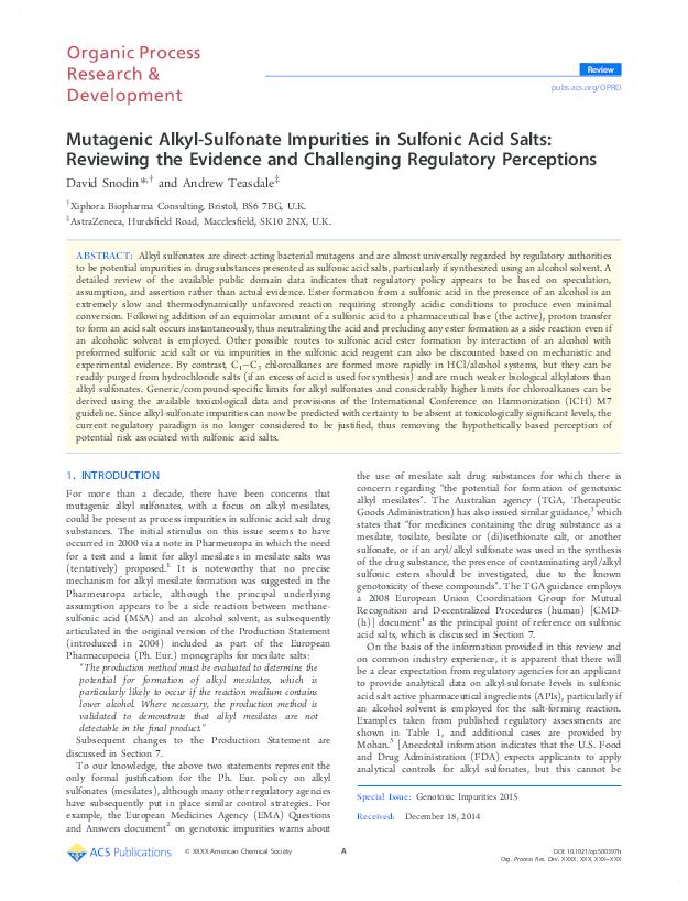 PDF) Mutagenic Alkyl-Sulfonate Impurities in Sulfonic Acid Salts