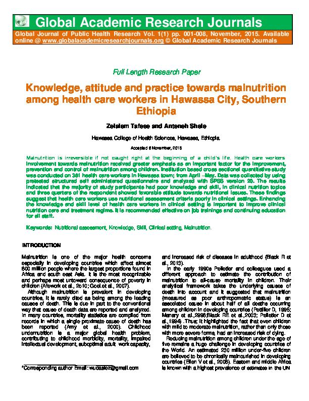 PDF) Knowledge, attitude and practice towards malnutrition