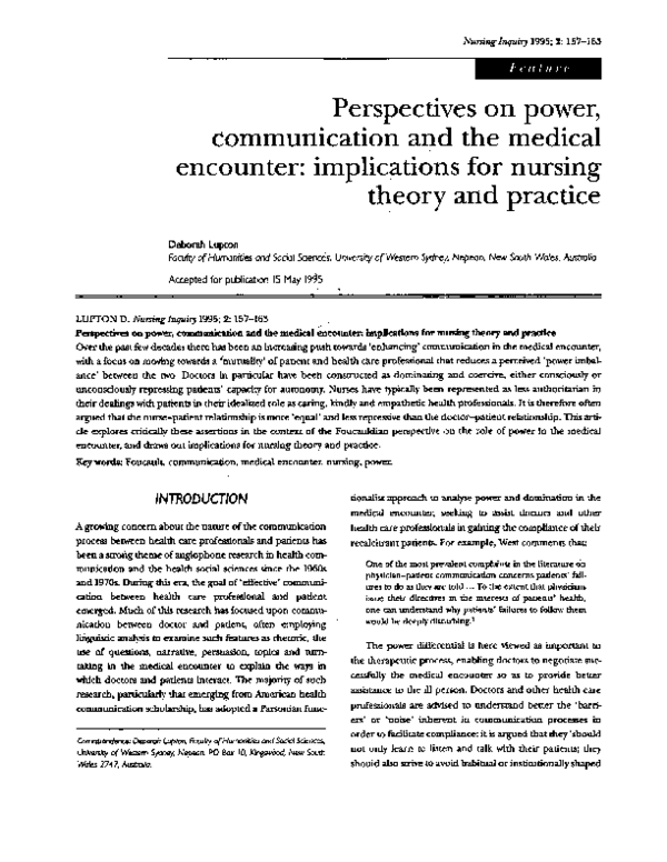 PDF) Perspectives on power, communication and the medical