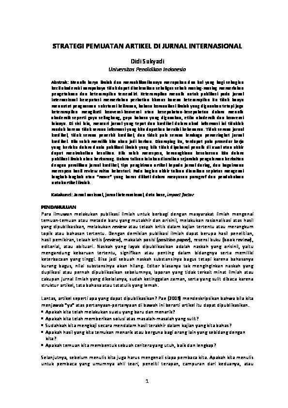 Pdf Strategi Pemuatan Artikel Di Jurnal Internasional Didi Sukyadi Academia Edu