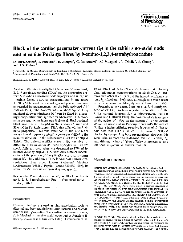 Pdf Block Of The Cardiac Pacemaker Current If In The