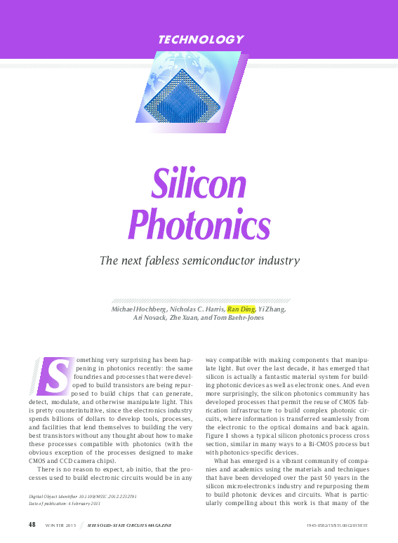 PDF) Silicon Photonics: The Next Fabless Semiconductor
