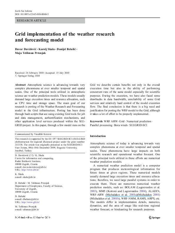PDF) Grid implementation of the weather research and