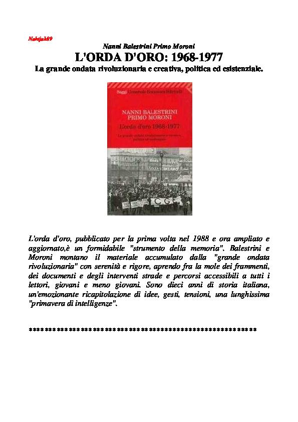 PDF) Balestrini, Moroni L'ORDA D'ORO: 1968 1977 | Graziano