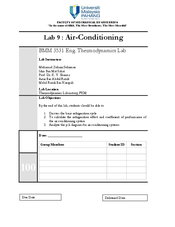 PDF) Lab 9 Air Conditioning 1 | Ahmad Aba - Academia edu