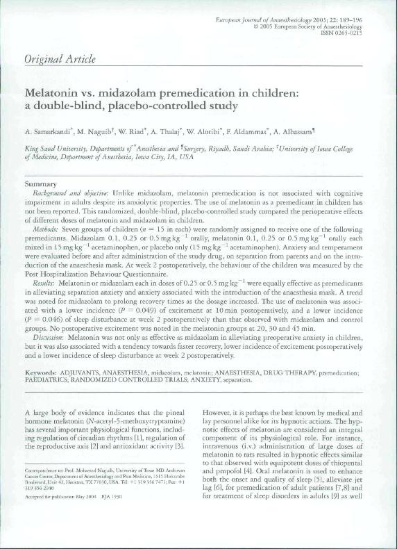 PDF) Melatonin vs  midazolam premedication in children: a