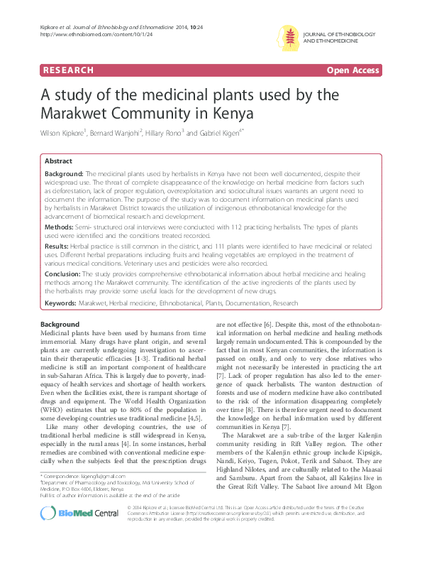 PDF) A study of the medicinal plants used by the Marakwet Community