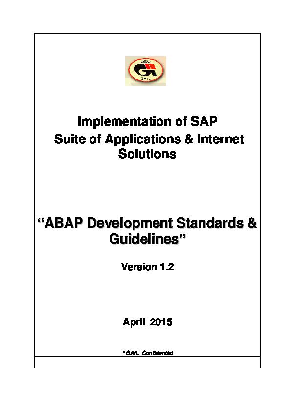 PDF) ABAP Development Standards Guidelines Ver 1 2 | Bijesh K K