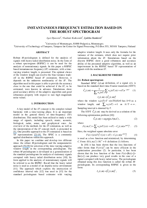 PDF) Instantaneous frequency estimation based on the robust