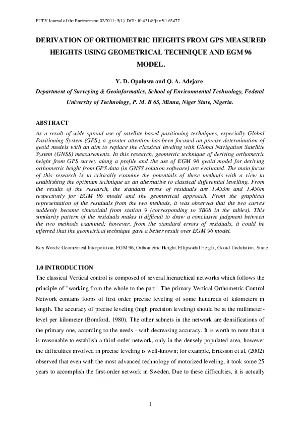 PDF) Derivation of Orthometric Heights from GPS Measured