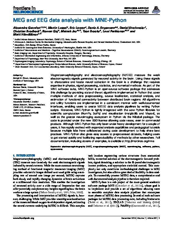 PDF) MEG and EEG data analysis with MNE-Python   Christian