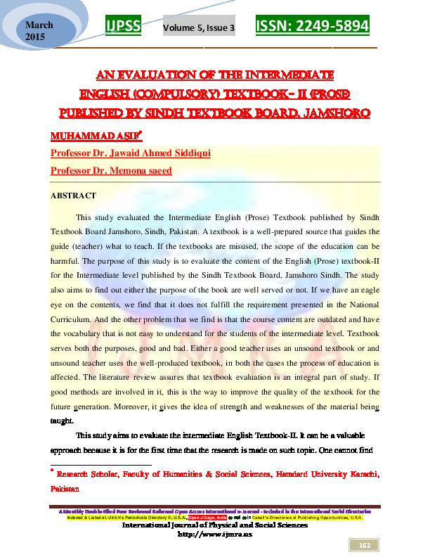 PDF) An Evaluation of Intermediate English (Prose) Textbook-I