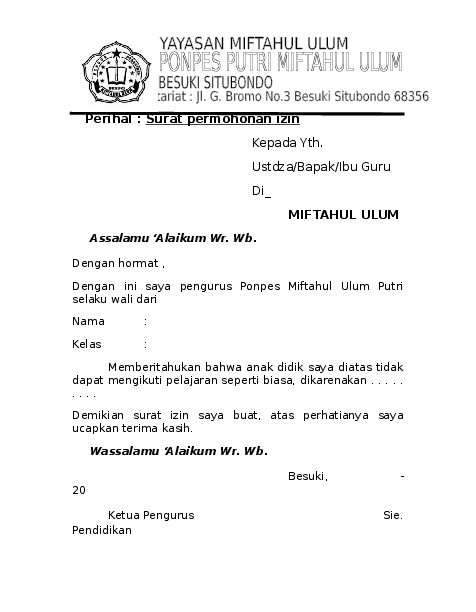 Doc Contoh Surat Ijin Pondok Ali Hasan Academiaedu