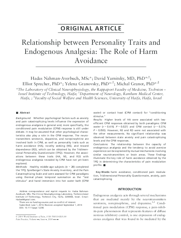 PDF) Relationship between Personality Traits and Endogenous