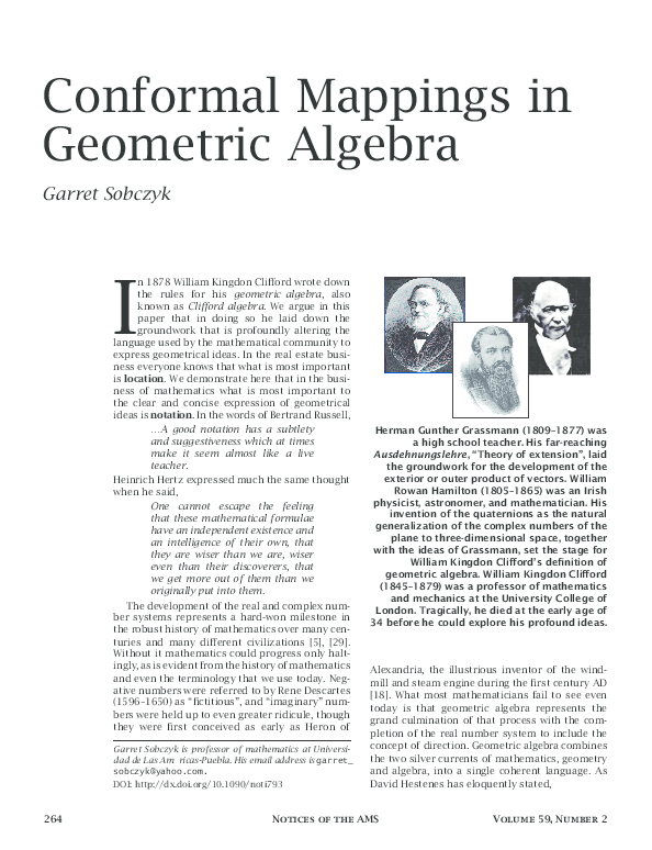 PDF) Conformal Mappings in Geometric Algebra | garret