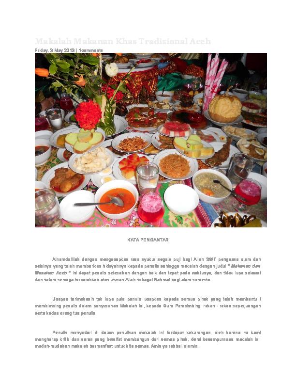 Doc Makalah Makanan Khas Tradisional Aceh Rahmat Yani