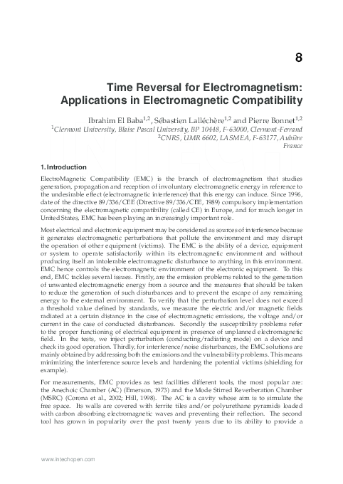 PDF) Time reversal for Electromagnetism: Applications in
