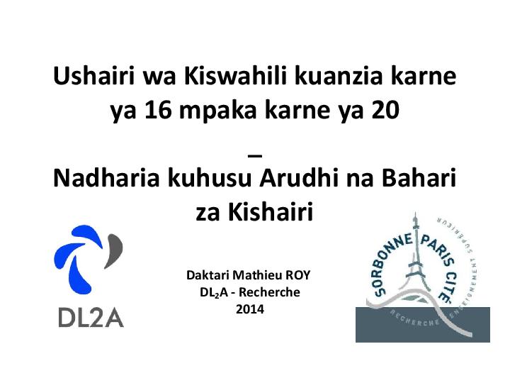 (PDF) Ushairi wa Kiswahili kuanzia karne ya 16 mpaka karne