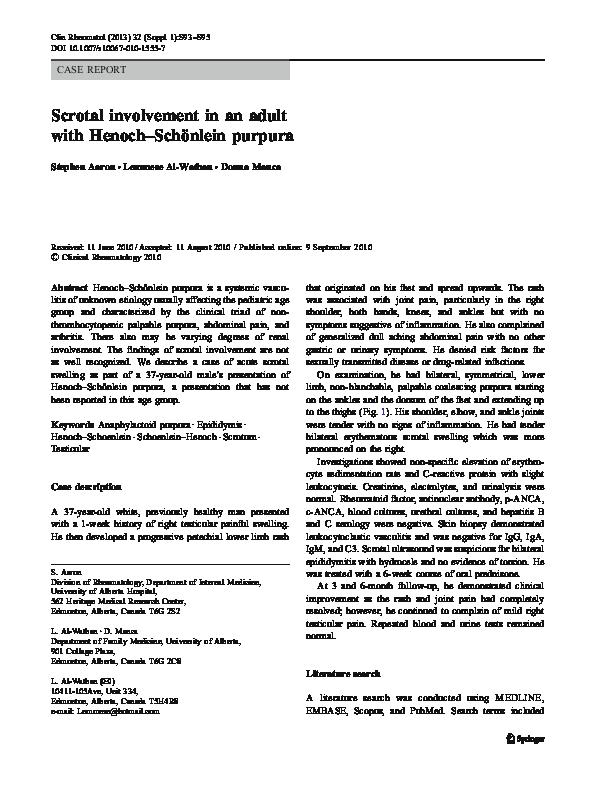 PDF) Scrotal involvement in an adult with Henoch–Schönlein