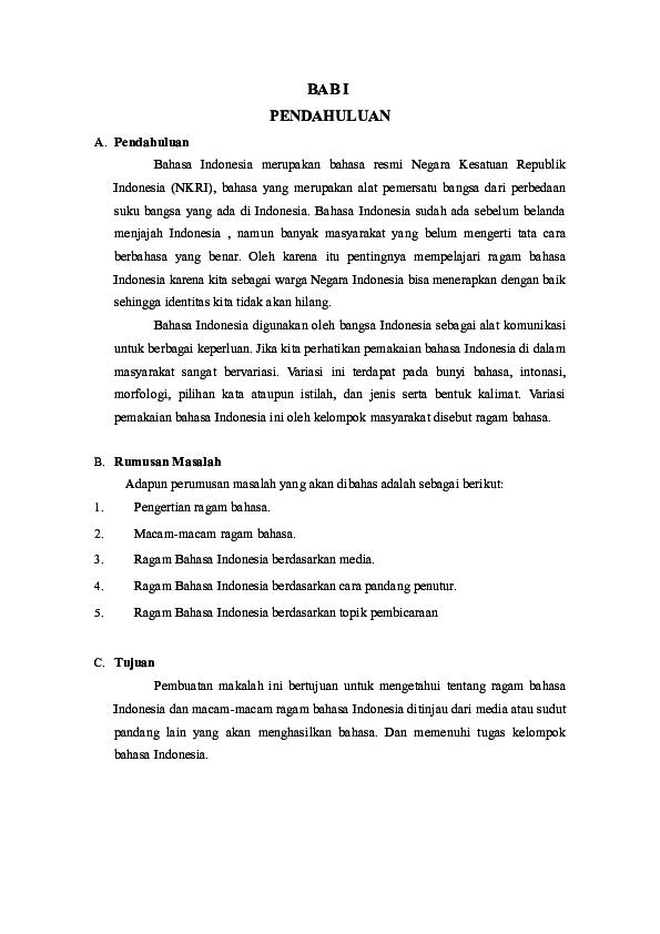 Contoh Ragam Bahasa Indonesia Berdasarkan Media