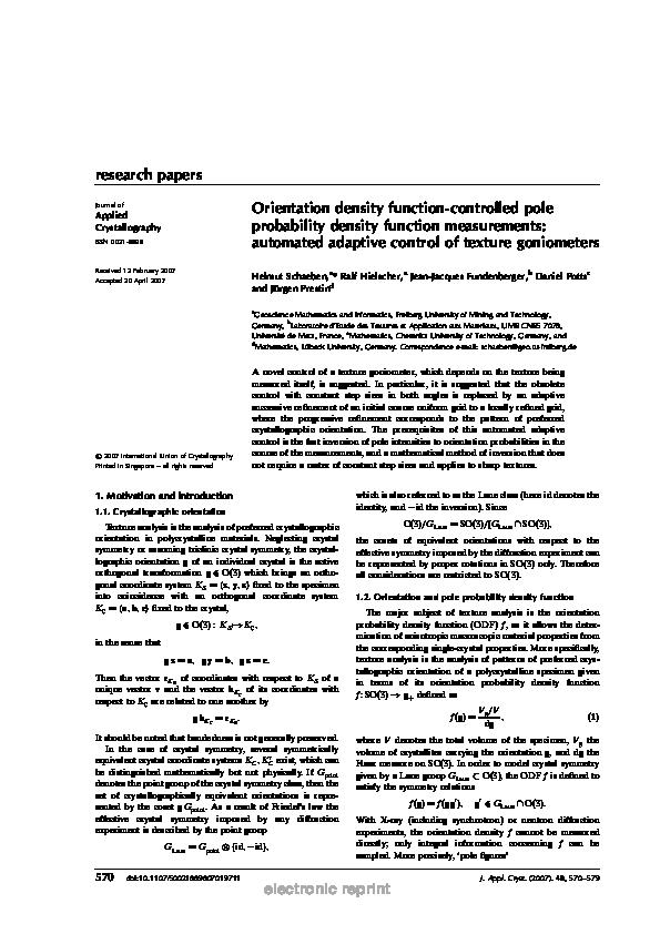 PDF) Orientation density function-controlled pole