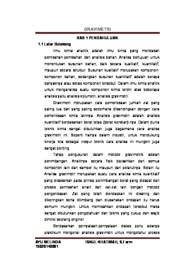Doc Laporan Praktikum Kimia Analisis Gravimetri Ayu Melinda Academia Edu
