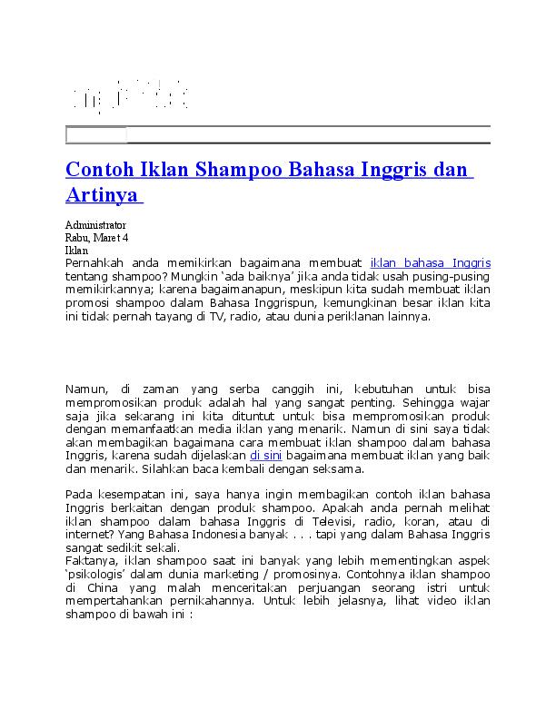 Doc Contoh Iklan Shampoo Bahasa Inggris Dan Artinya Rima Sir