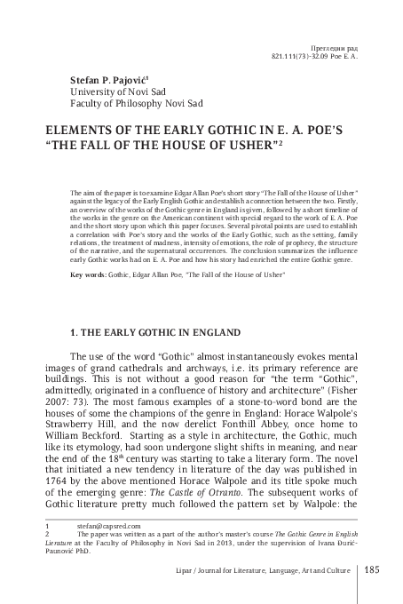 The fall of the house of usher gothic elements essay