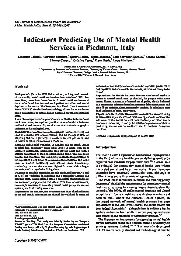 Pdf Indicators Predicting Use Of Mental Health Services In Piedmont Italy Luis Salvador Carulla Academia Edu