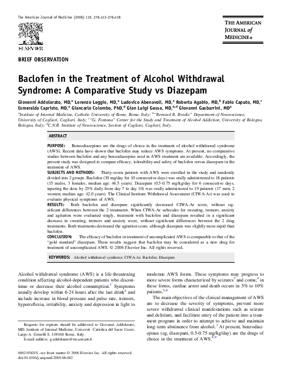 PDF) Baclofen in the Treatment of Alcohol Withdrawal