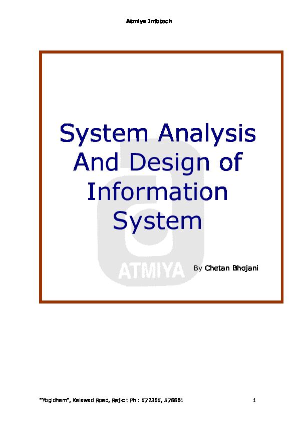 Pdf Software Analysis Design Of Information System Arun Upadhyay Academia Edu