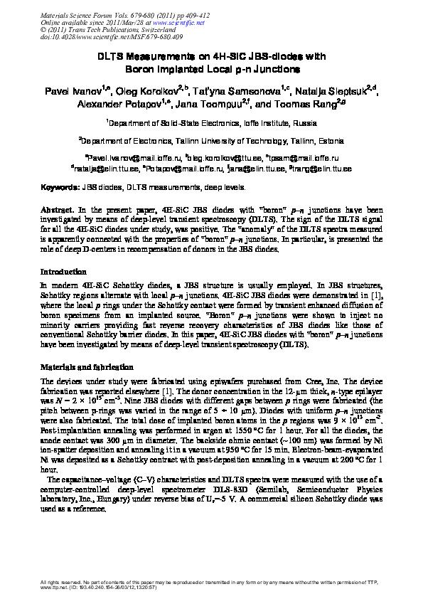 PDF) DLTS Measurements on 4H-SiC JBS-Diodes with Boron