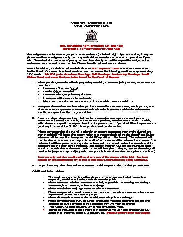 DOC) COMM 393 COURT ASSIGNMENT SEPT 2015 | Karlynn Huang