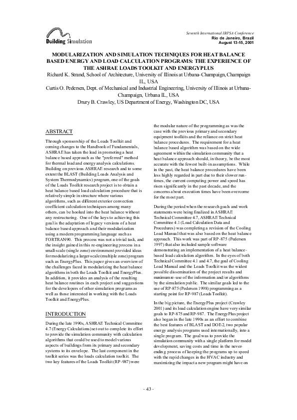 PDF) Modularization and Simulation Techniques for Heat Balance-Based