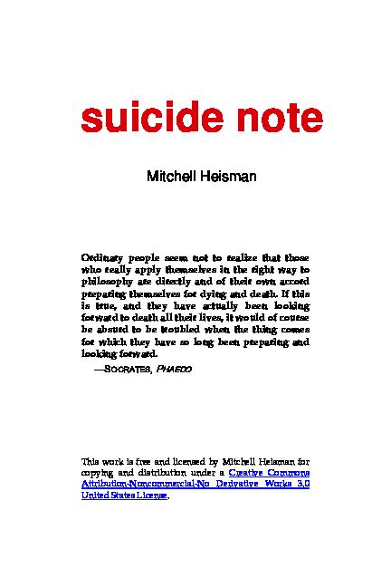 Pdf Heisman Mitchell Suicide Note Centro De Estudios Historia Academia Edu