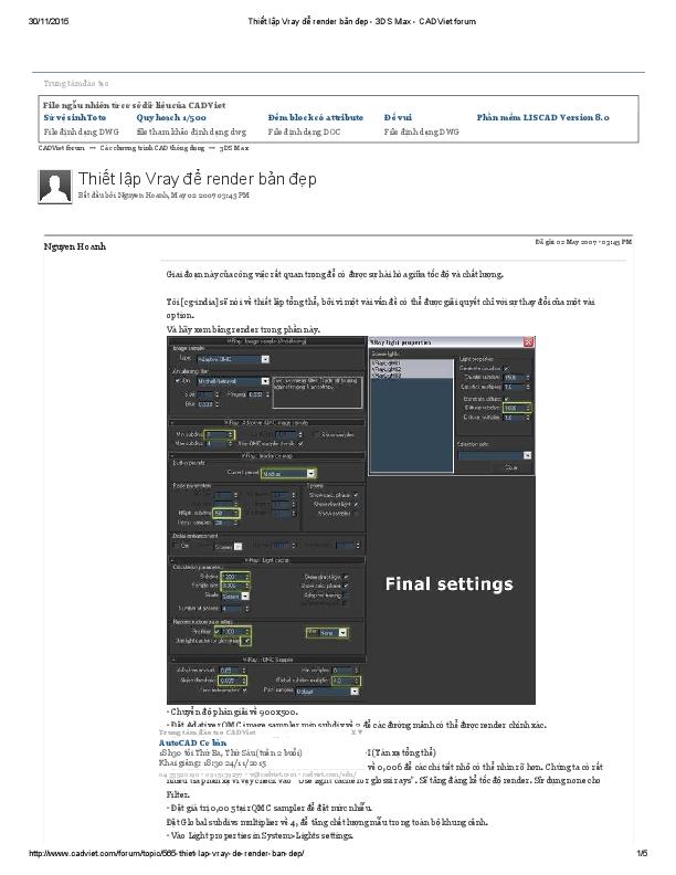 PDF) Thiết lập Vray dể render bản dẹp 3DS Max CADViet forum