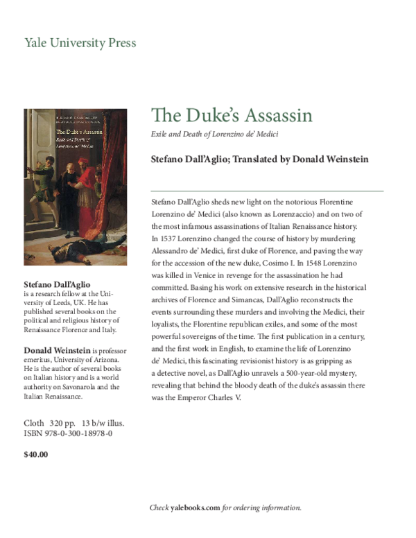 The Dukes Assassin: Exile and Death of Lorenzino de Medici