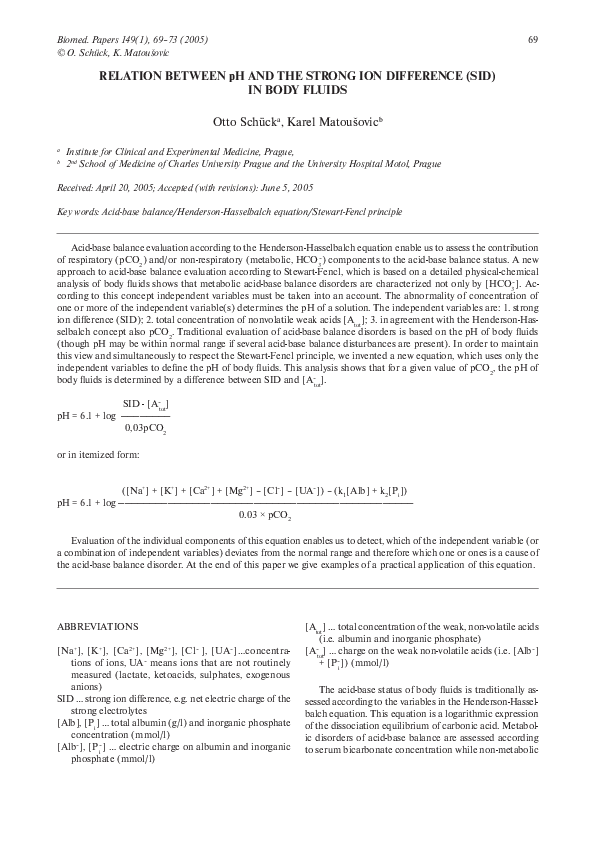 PDF) Relation between pH and the strong ion difference (SID