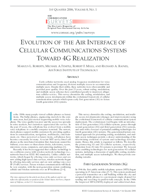 PDF) Evolution of the air interface of cellular